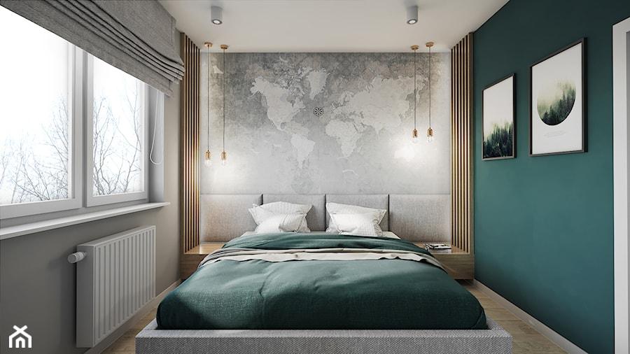 Mieszkanie w Krakowie - Średnia szara zielona sypialnia małżeńska, styl nowoczesny - zdjęcie od Przestrzenie