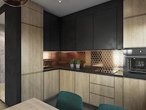 Mieszkanie w Krakowie - Mała szara czarna kuchnia w kształcie litery l w aneksie z oknem, styl nowoczesny - zdjęcie od Przestrzenie