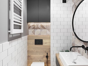 Mieszkanie 3 pokoje Marywilska - Mała biała beżowa szara łazienka bez okna, styl eklektyczny - zdjęcie od Przestrzenie