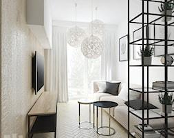 Mieszkanie w Piasecznie - Mały biały salon z tarasem / balkonem, styl nowoczesny - zdjęcie od Przestrzenie