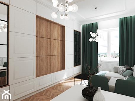 Aranżacje wnętrz - Salon: Mieszkanie w kamienicy - Średni biały salon, styl art deco - Przestrzenie. Przeglądaj, dodawaj i zapisuj najlepsze zdjęcia, pomysły i inspiracje designerskie. W bazie mamy już prawie milion fotografii!