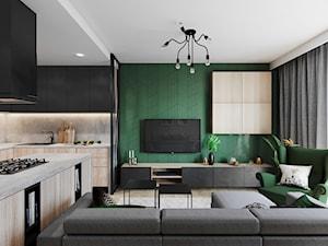 Segment pod Warszawą - Średni biały zielony salon z kuchnią z jadalnią, styl nowoczesny - zdjęcie od Przestrzenie