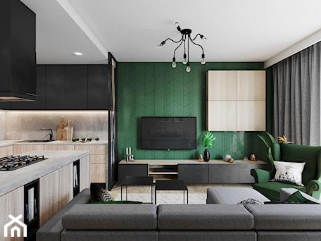 Aranżacje wnętrz - Salon: Segment pod Warszawą - Średni biały zielony salon z kuchnią z jadalnią, styl nowoczesny - Przestrzenie. Przeglądaj, dodawaj i zapisuj najlepsze zdjęcia, pomysły i inspiracje designerskie. W bazie mamy już prawie milion fotografii!