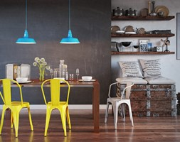 Krzesło - D2 - Paris żółte inspirowane Tolix - zdjęcie od DecoMania.pl - Homebook