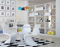 Meble D2 - Średnia otwarta szara jadalnia jako osobne pomieszczenie - zdjęcie od DecoMania.pl - Homebook