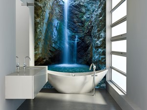 Fototapety ścienne – galeria inspiracji - Mała biała kolorowa łazienka - zdjęcie od DecoMania.pl