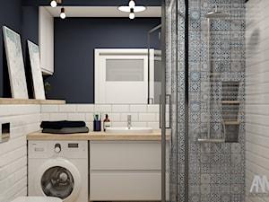 ŁAZIENKA W BLOKU - Mała szara łazienka w bloku w domu jednorodzinnym bez okna - zdjęcie od AM architektura