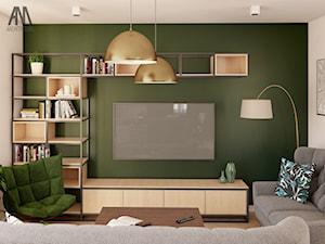 STREFA DZIENNA W DOMU JEDNORODZINNYM - Mały szary zielony salon - zdjęcie od AM architektura