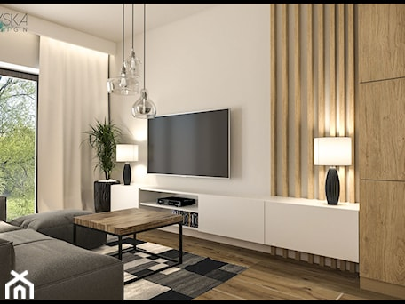 Aranżacje wnętrz - Salon: projekt domku - GACKOWSKA DESIGN - GACKOWSKA DESIGN. Przeglądaj, dodawaj i zapisuj najlepsze zdjęcia, pomysły i inspiracje designerskie. W bazie mamy już prawie milion fotografii!