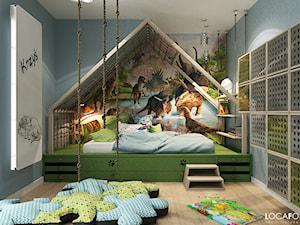 Pokój dziecięcy z dinozaurami - Średni szary pokój dziecka dla chłopca dla malucha - zdjęcie od Locaforma