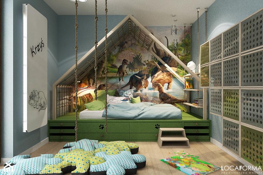 Pokój dziecięcy z dinozaurami - Średni szary pokój dziecka dla chłopca dla malucha - zdjęcie od Locaforma - Homebook