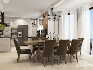 Dom pod Złotoryją - Duża otwarta szara jadalnia w kuchni, styl rustykalny - zdjęcie od Locaforma