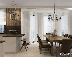 Dom pod Złotoryją - Średnia otwarta szara jadalnia w kuchni, styl rustykalny - zdjęcie od Locaforma