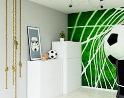 mieszkanie z przygodą - Mały szary pokój dziecka dla chłopca dla dziewczynki dla ucznia dla malucha dla nastolatka, styl nowoczesny - zdjęcie od ASK- projektowanie wnętrz