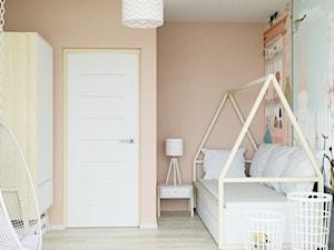 mieszkanie z przygodą - Mały szary pomarańczowy pokój dziecka dla chłopca dla dziewczynki dla nastolatka, styl skandynawski - zdjęcie od ASK- projektowanie wnętrz