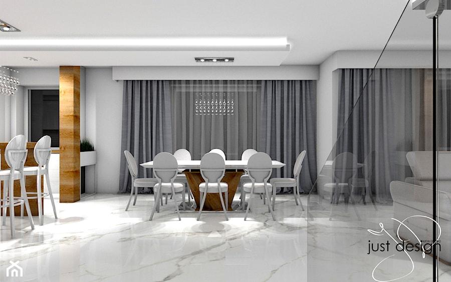 Dom jednorodzinny Gostyń - Duża otwarta szara jadalnia w salonie, styl art deco - zdjęcie od JustDesign - Projekty wyjątkowych wnętrz