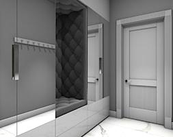 Dom jednorodzinny Gostyń - Mały szary hol / przedpokój, styl nowojorski - zdjęcie od JustDesign - Projekty wyjątkowych wnętrz