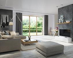 Projekt Domu Sambor G2 (dwulokalowy) – wizualizacja salonu - zdjęcie od ARCHIPELAG Pracownia Projektowa