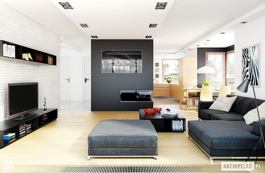 Projekt domu Mati G1 - wizualizacja salonu - zdjęcie od ARCHIPELAG Pracownia Projektowa