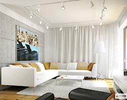 Projekt domu Leosia G1 ENERGO - wizualizacja salonu - zdjęcie od ARCHIPELAG Pracownia Projektowa