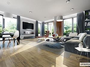 Projekt Domu Simon G2 - wizualizacja strefy dziennej - zdjęcie od ARCHIPELAG Pracownia Projektowa