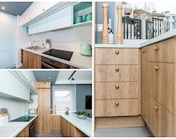 STYLOWE MIESZKANIE W BLOKU - Średnia otwarta biała kuchnia w kształcie litery u z oknem, styl eklektyczny - zdjęcie od Kolektyw D2