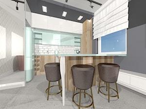 STYLOWE MIESZKANIE W BLOKU - Mała otwarta biała szara kuchnia w kształcie litery g w aneksie, styl eklektyczny - zdjęcie od Kolektyw D2