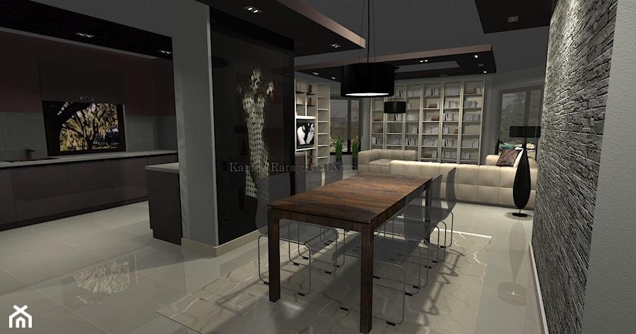 Salon, jadalnia, kuchnia w przestrzeni otwartej domu jednorodzinnego  zdjęci   -> Aranżacja Kuchnia Jadalnia Salon