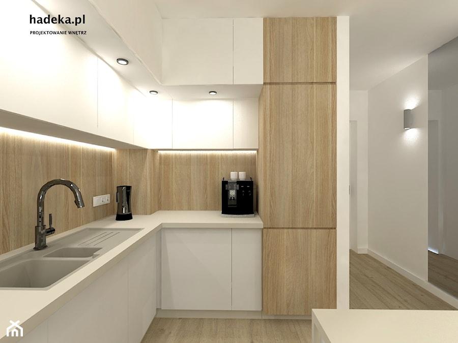KUCHNIA Z SALONEM - Średnia biała beżowa kuchnia w kształcie litery l w aneksie, styl nowoczesny - zdjęcie od HaDeKa Biuro Projektowe