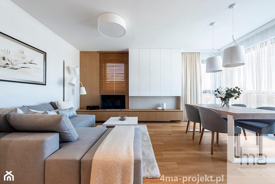 Mieszkanie 68m2 na Ochocie - Duży biały salon z jadalnią z tarasem / balkonem, styl nowoczesny - zdjęcie od 4ma projekt
