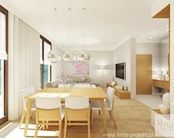 Projekt mieszkania 98 m2 w Wilanowie. - Mały beżowy salon z jadalnią, styl nowoczesny - zdjęcie od 4ma projekt