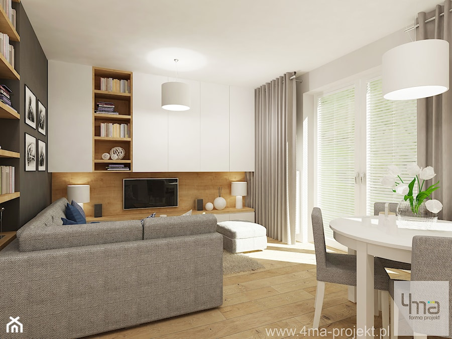 projekt salonu z aneksem kuchennym 22 m2 i azienki 5 2 m2 redni salon z bibiloteczk z. Black Bedroom Furniture Sets. Home Design Ideas