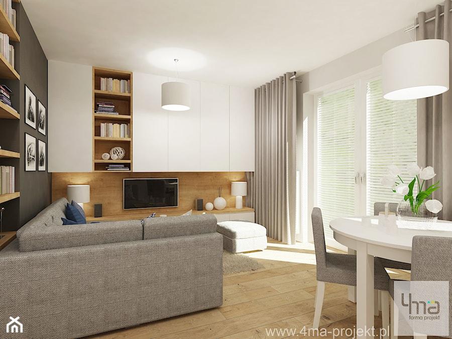 Projekt salonu z aneksem kuchennym 22 m2 i łazienki 5,2 m2. - Średni szary salon z bibiloteczką z jadalnią z tarasem / balkonem, styl nowoczesny - zdjęcie od 4ma projekt
