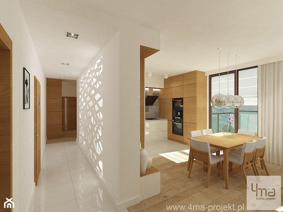 b9fd047878d632 Projekt mieszkania 98 m2 w Wilanowie. - Średni biały brązowy hol /  przedpokój, styl