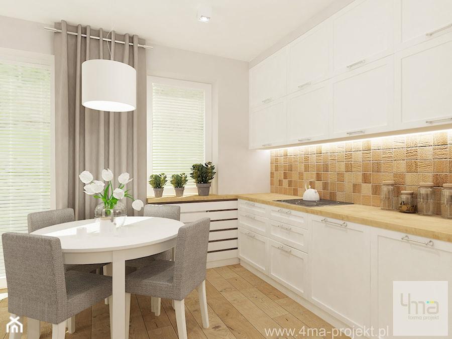 Projekt salonu z aneksem kuchennym 22 m2 i łazienki 5,2 m2. - Średnia otwarta biała beżowa kuchnia jednorzędowa w aneksie, styl skandynawski - zdjęcie od 4ma projekt