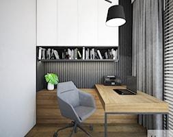 Mieszkanie o pow. 52 m2 w Grodzisku Mazowieckim - Małe szare białe biuro domowe kącik do pracy w pokoju, styl nowoczesny - zdjęcie od 4ma projekt