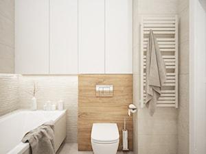 Mieszkanie 128 m2 - Gocławek - Średnia biała beżowa łazienka bez okna, styl nowoczesny - zdjęcie od 4ma projekt