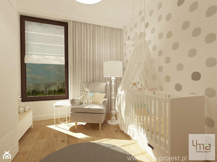 Projekt mieszkania 98 m2 w Wilanowie. - Średni biały szary pokój dziecka dla chłopca dla dziewczynki dla niemowlaka, styl eklektyczny - zdjęcie od 4ma projekt