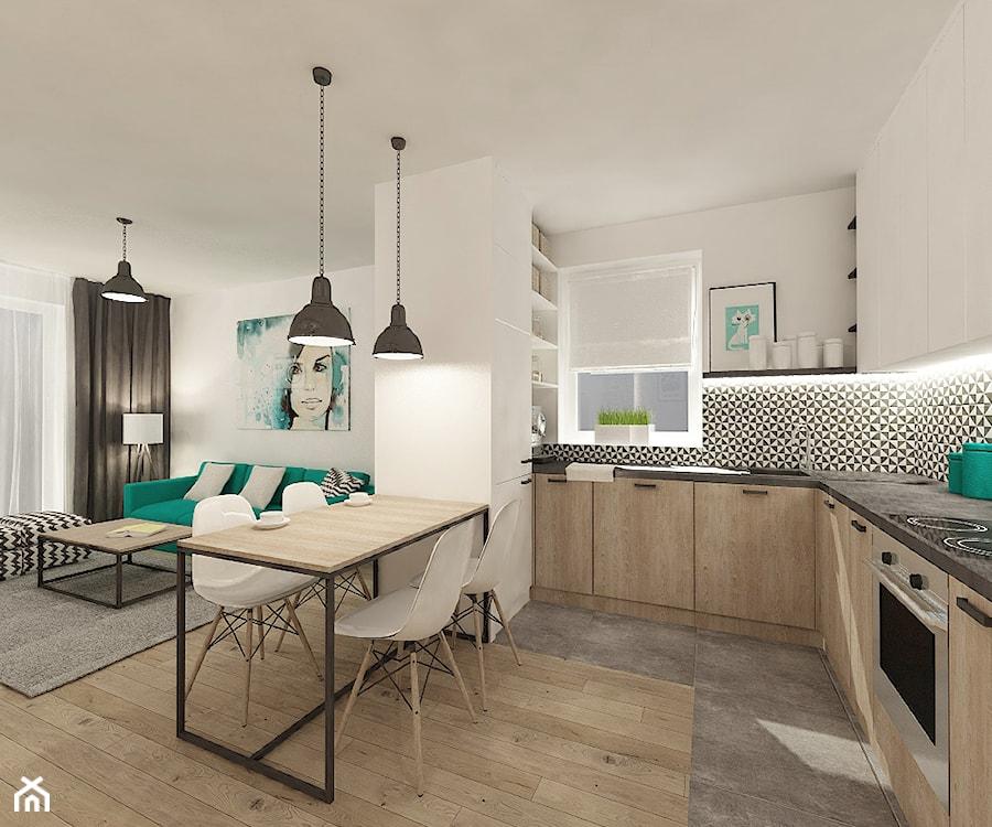 """Mieszkanie 64 m2 z """"loftowym"""" akcentem. - Średnia otwarta biała szara kuchnia w kształcie litery l w aneksie, styl skandynawski - zdjęcie od 4ma projekt"""