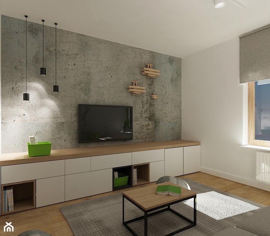 Średni szary biały salon, styl nowoczesny - zdjęcie od 4ma projekt