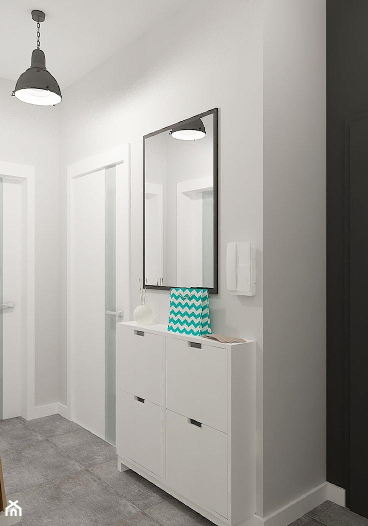 """Mieszkanie 64 m2 z """"loftowym"""" akcentem. - Średni biały czarny hol / przedpokój, styl skandynawski - zdjęcie od 4ma projekt - Homebook"""