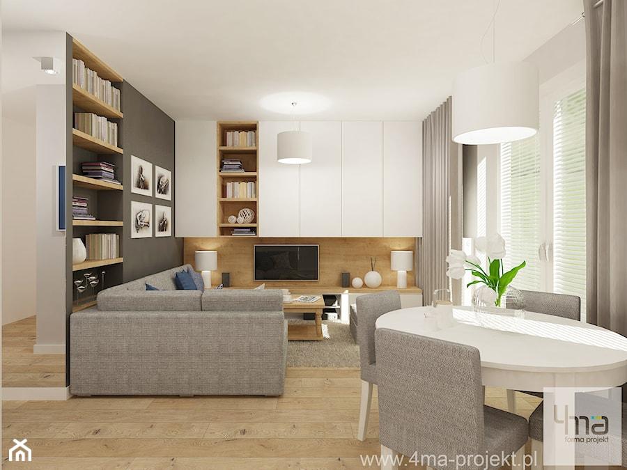 projekt salonu z aneksem kuchennym 22 m2 i azienki 5 2 m2 redni szary salon z bibiloteczk. Black Bedroom Furniture Sets. Home Design Ideas