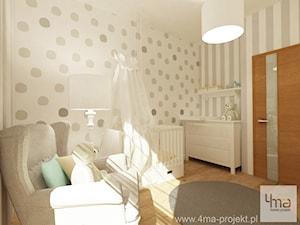 Projekt mieszkania 98 m2 w Wilanowie. - Średni biały beżowy pokój dziecka dla chłopca dla dziewczynki dla niemowlaka, styl eklektyczny - zdjęcie od 4ma projekt