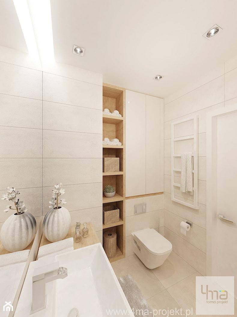 Projekt salonu z aneksem kuchennym 22 m2 i łazienki 5,2 m2. - Mała beżowa łazienka w bloku bez okna, styl nowoczesny - zdjęcie od 4ma projekt - Homebook