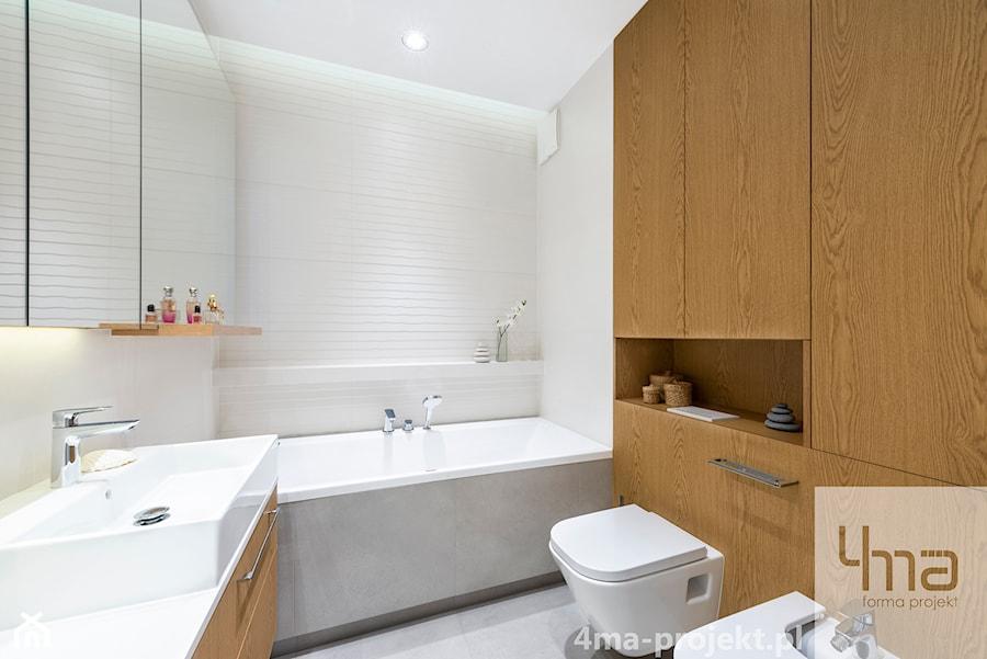Mieszkanie 68m2 na Ochocie - Średnia biała łazienka w bloku w domu jednorodzinnym bez okna, styl nowoczesny - zdjęcie od 4ma projekt