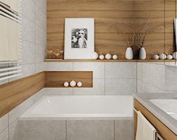 """Mieszkanie 64 m2 z """"loftowym"""" akcentem. - Mała brązowa szara łazienka w bloku bez okna, styl nowoczesny - zdjęcie od 4ma projekt - Homebook"""