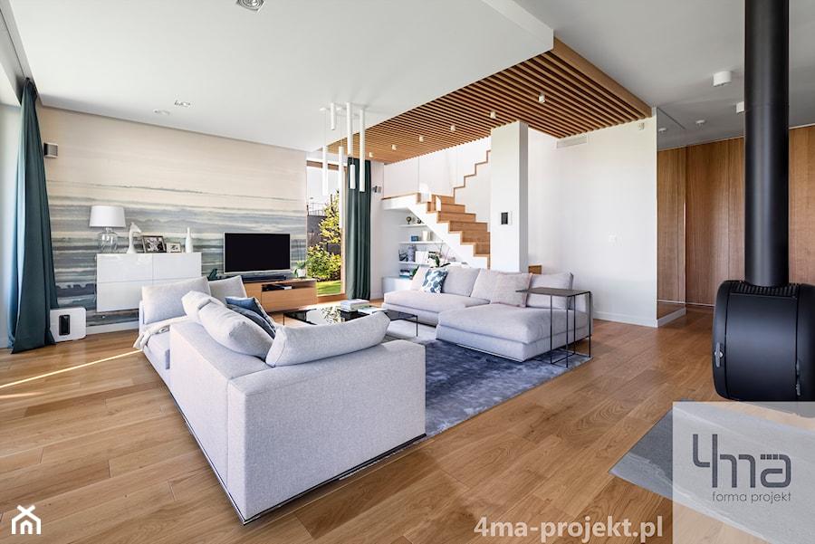 Dom w Zawadach - Duży biały salon, styl nowoczesny - zdjęcie od 4ma projekt