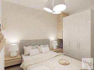Projekt mieszkania na Bielanach o pow. 51,5 m2. - Mała beżowa sypialnia małżeńska, styl nowoczesny - zdjęcie od 4ma projekt