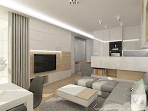 Projekt mieszkania w Pruszkowie - pow. 52,5 m2. - Mały salon z kuchnią z jadalnią, styl nowoczesny - zdjęcie od 4ma projekt