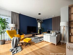 Mieszkanie o pow. 129 m2 - Mokotów - Średni szary biały niebieski salon, styl nowoczesny - zdjęcie od 4ma projekt